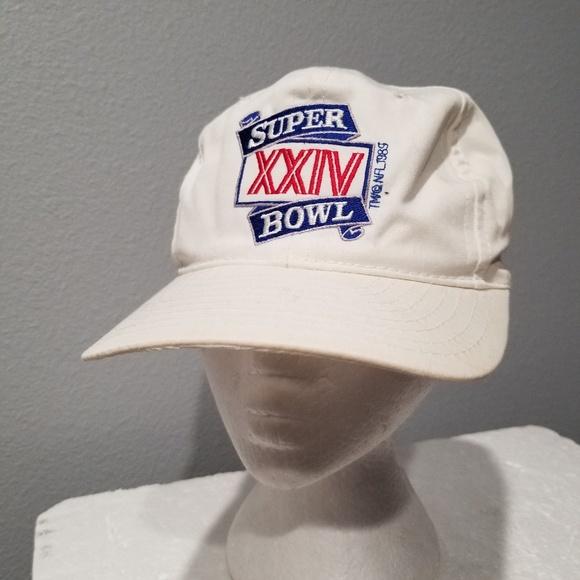 Vintage Super Bowl XXIV 1989 White Snapback Hat Ca.  M 5be3f1a4409c15251f420109 a008aac2d